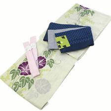 Women's Cotton Yukata 3item set Japanese Summer Kimono White Asagao Own Brand