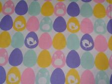 "1 yard Easter Eggs with Bunnies & Chicks 100% Cotton Fabric- 44"" wide"