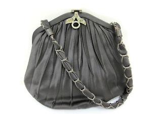 Authentic GUCCI Satin Shoulder Bag Leather Vintage Gray 97570