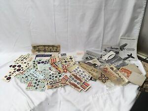 Vintage 1960s Monogram Revell Military Model Airplane HUGE Decal Model paper Lot
