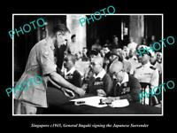 OLD LARGE HISTORIC PHOTO OF SINGAPORE, JAPANESE SURRENDER SIGNING 1945 ITAGAKI 1