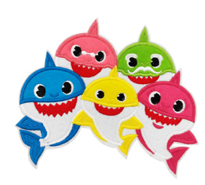 """Children's BABY SHARK & Friends 6.3"""" Wide Iron On Embroidered Patch"""