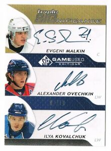 2008-09 SP Game-Used Triple SIGnificance Autograph Malkin Ovechkin Kovalchuk /10