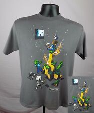 Minecraft Shirt Boy's Medium Gray Creeper Monsters Graphic Shirt New ST102