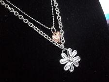 NUOVA C13-40 Sweet Years Jewels Collana Pendente Cuore e Fiore Donna Acciaio