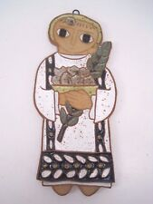 Religious Saint Basket Branch Glazed Clay Pottery Art Wall Hanging Maker's Mark