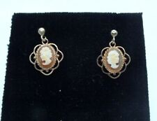 Vintage 9ct yellow gold Cameo drop earrings.