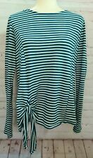 T. la Anthropologie Women's Shirt Top Large Striped Green Front Tie Long Sleeve