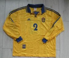 """Sweden 1998 #2 Nilsson *Match Worn* Adidas Shirt Trikot """"L"""" Jersey Sverige Long"""