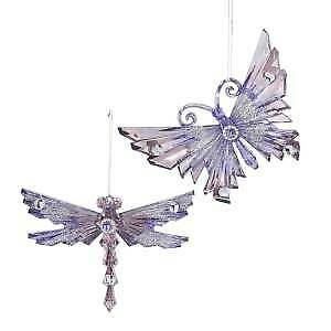 Set of 2 Royal Splendor Purple and Silver Butterfly and Dragonfly Ornaments w