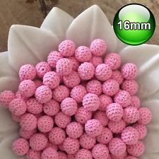 10 x Crochet wood beads 16mm Pastel Pink wooden teething baby safe jewellery
