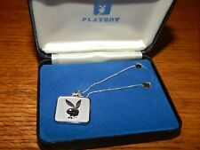 100% AUTHENTIC ORIGINAL 1974 PLAYBOY STERLING SILVER BUNNY NECKLACE NOS IN BOX