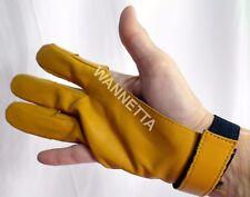Leather 3-Finger Archery Glove Large Trad Damascus Style Buckskin Allen Brand