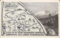 "Map, Pikes Peak - ADVERTISING MULTIVIEW - ""Come Up to Cool Colorado Springs"""