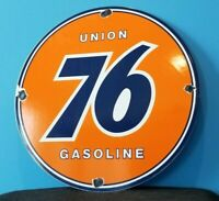 VINTAGE UNION 76 GASOLINE PORCELAIN GAS SERVICE STATION PUMP PLATE AD SIGN