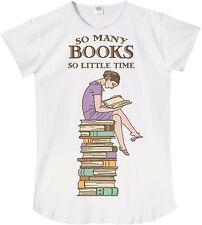 NWT Women's So Many Books So Little Time Sleepshirt Nightshirt White