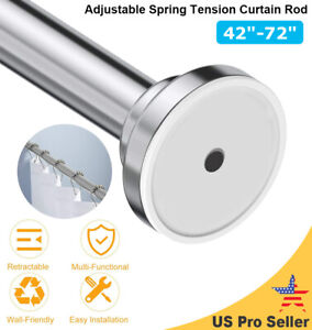 """Adjustable Spring Tension Curtain Rod 42""""-72"""" Closet Rod Stainless Steel Hot"""