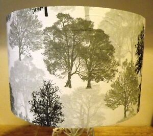 Trees Lampshade shabby Chic Modern Contemporary Silver grey white  Free Gift