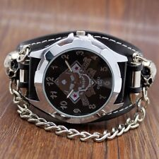 Cool Punk Rock Skull Skeleton Chain Gothic Leather Quartz Wrist Watch Mens Gift