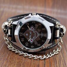 Cool Punk Rock Skull Skeleton Chain Gothic Leather Quartz Wrist Watch Mens Gift