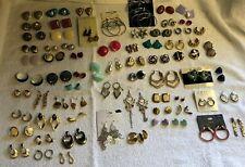 Vintage to Now Earrings Lot 72 Pair 1 1/12 lbs Pierced Earring Dangle Hoop D2