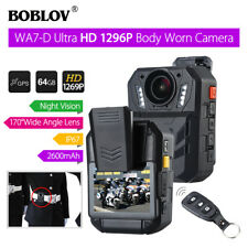 BOBLOV WA7-D HD 1296P 64GB Körper Kamera Recorder Fernbedienung GPS Schutz Video
