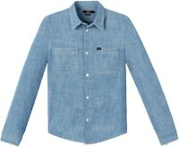 LEE New Mens Western Long Sleeve Shirt New Men's Blue Print Jean Shirts Slim Fit
