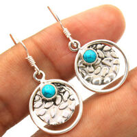 Tibetan Turquoise - 925 Sterling Silver Dangle Round Earring Jewelry 1 1/4""