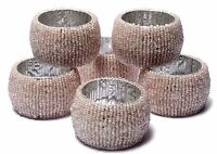 Pink Beaded Napkin Ring Holder Wedding Party Banquet Dinner Décor Set of 6