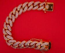 Mens Miami Cuban Link Bracelet 200 Grams 10k Yellow Gold 13 Carat Diamonds ASAAR