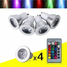 4 x GU10 4W 16 Color Changing RGB Dimmable LED Light Bulbs Lamp RC Remote Spot