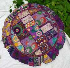 """New 22"""" Purple Indian Decorative Floor Cover Round Patchwork Cushion Cover Throw"""