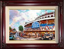 "Thomas Kinkade Wrigley Field: Memories and Dreams 18"" x 27"" S/N Canvas Baseball"