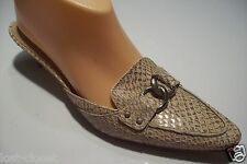 Talbots Brown Leather Snake Slide Mules Heels Pump Shoe Size 7 N Narrow @ cLOSeT