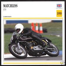1959 Matchless G50 G-50 500cc (496cc) Race Motorcycle Photo Spec Sheet Info Card