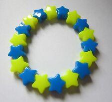 Kitsch Neon Blue & Yellow Plastic Star Bead Elastic Bracelet Retro Emo Goth