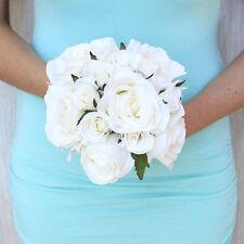 White Roses ~ Bridal Hand Tied Bouquet Silk Wedding Flowers Bridesmaid Bride