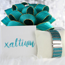 Teal Crystal Made with Swarovski Apple Watch Band Stainless steel links Bling