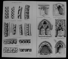 ANTIQUE Magic Lantern Slide EARLY ENGLISH MOULDINGS C1910 CHURCH ARCHITECTURE