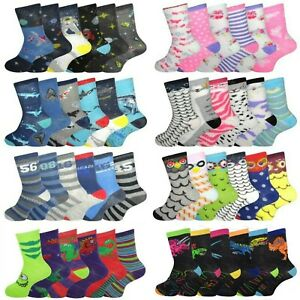 Girls Boys Socks 6 Pairs Novelty Character Childrens Kids Funky Designs