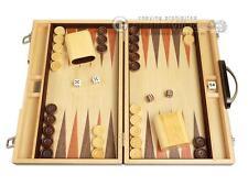 15-inch Wood Backgammon Set - Zebra Wood - Classic Wooden Board Game