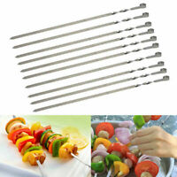 10Pcs BBQ Barbecue Stainless Steel Grilling Kabob Flat Sticks Needle Skewer S6S5