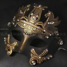 Roman Greek Half Phantom Venetian Masquerade Gold Black Mardi Gras Men Mask