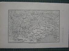1915 WWI WW1 PRINT ~ AUSTRIAN FRONTIER OF ITALY MAP VENICE TRIESTE