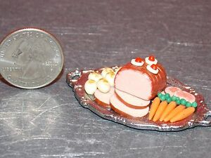 Dollhouse Miniature Food Ham on Silver Platter 1:12 scale A49 Dollys Gallery