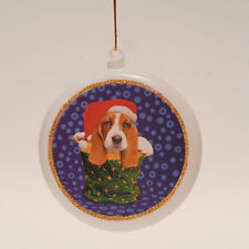 Basset Hound Flat Disk Christmas Ornament