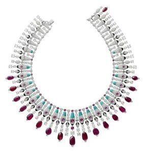 925 Sterling Silver Necklace Royal Lab Created Gemstones Diamond Handmade Jewels
