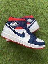 Nike Air Jordan 1 Mid SE USA White Varsity Red Midnight Navy UK 9 | EU 44