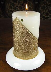 Kerze Weihnachten Sterne Mond Komet Weiß Gold Stumpenkerze edel gross Neujahr 1