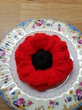 "HANDMADE CROCHET POPPY BROOCH RED & BLACK 3"" ACROSS"